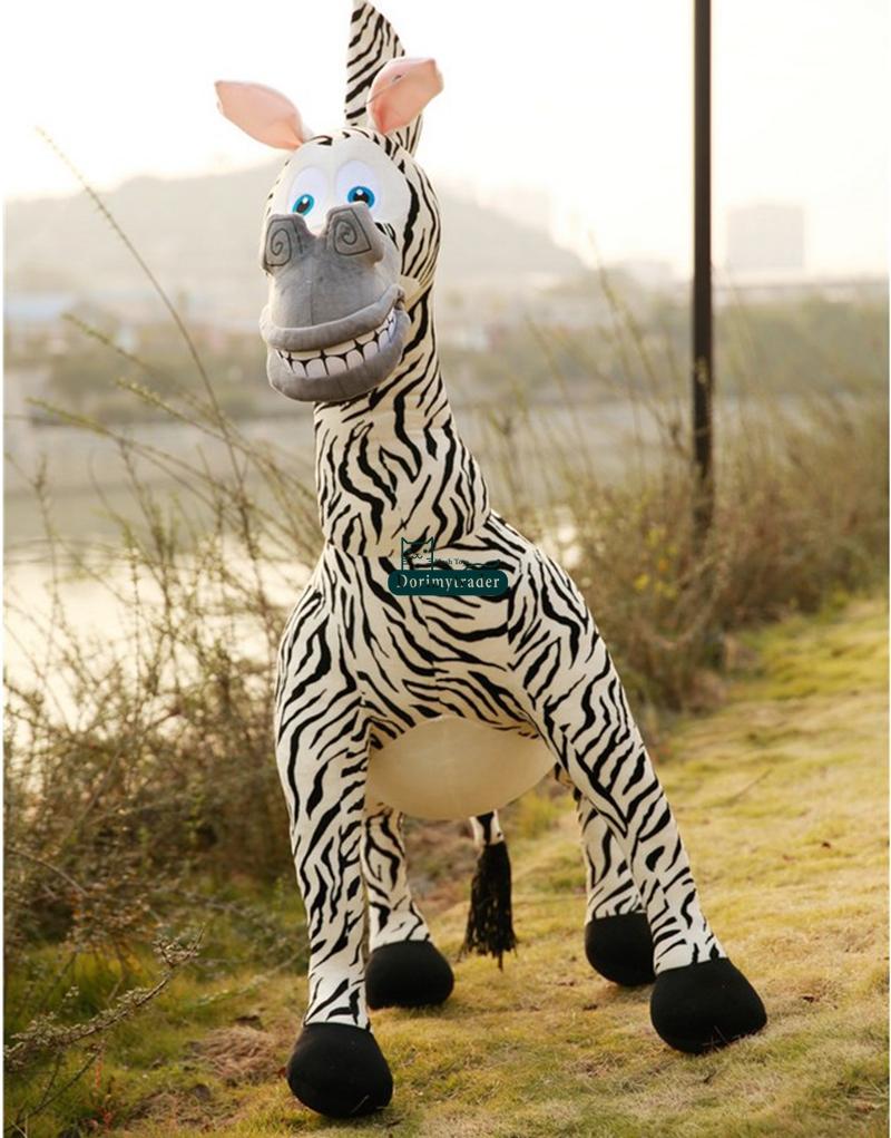 Dorimytrader New Hot 55'' / 140cm Huge Stuffed Soft Giant Plush Emulational Animal Madagascar Zebra Toy, Free Shipping DY60314(China (Mainland))