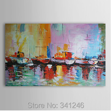 Hand-painted big size modern wall art home decor living room hall Sailing boats Palette knife landscape oil painting canvas - Modern Home Decorative Oil Painting store