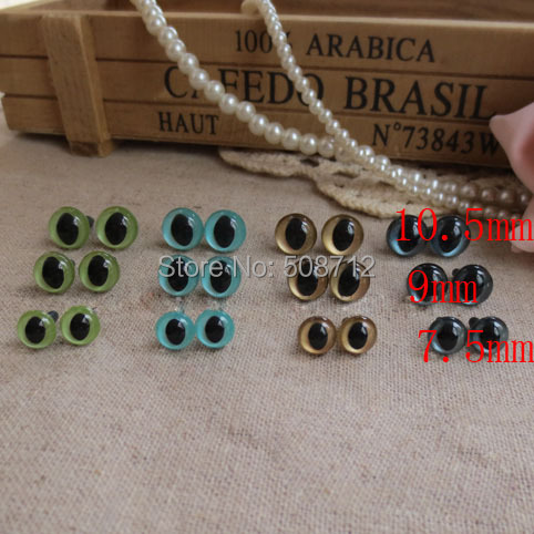 Free ship!! 60pairs - 7.5mm to 10.5mm Japanese Hand Painted Pearl-tallic Safety Eyes Cat Eyes with Metal Washer 4Color<br><br>Aliexpress