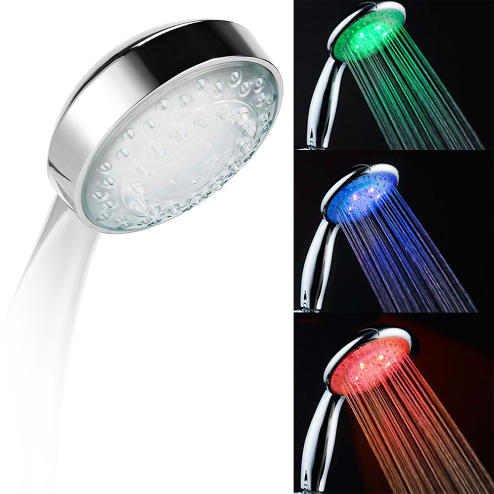LED Smart Shower Hand-Held Head Water Temperature Control 3 Colors Light Bathroom Hand LED Shower Heads Romantic Automatic(China (Mainland))
