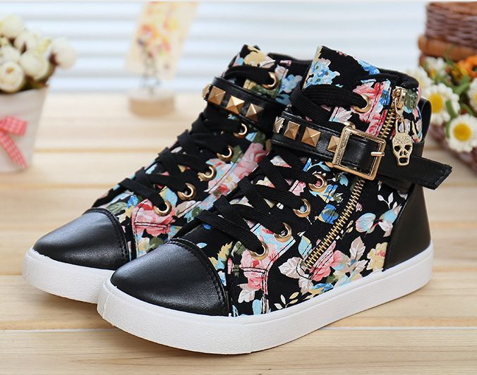 2015 High Top Sneakers Height-increasing Women Sneakers Floral Printed Women Shoes Wedge Sneaker For Women White GB01(China (Mainland))