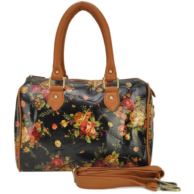 Buy Oilcloth Bags Women Handbags Wild Flowers Print Design Tote Bag ...