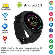 Buy 2017 Smartwatch 3G Kingwear KW88 PK Finow X5 X61.39'' Amoled 400*400 Smart Watch 3G Calling 2.0MP Camera Pedometer Heart Rate for $89.93 in AliExpress store