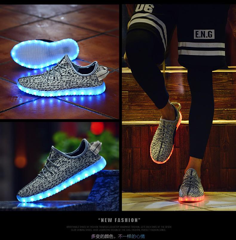 2016 Hot 7 Colors luminous shoes unisex LED glow shoe men & women fashion USB rechargeable light led shoes for adults led shoes