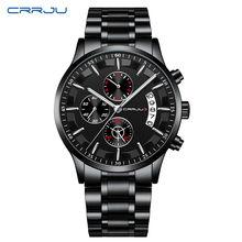 CRRJU Mens Luxury Watches Top Brand Waterproof Sports Watch Automatic Date Mens Casual Mesh Strap Quartz Clock Relogio Masculino(China)