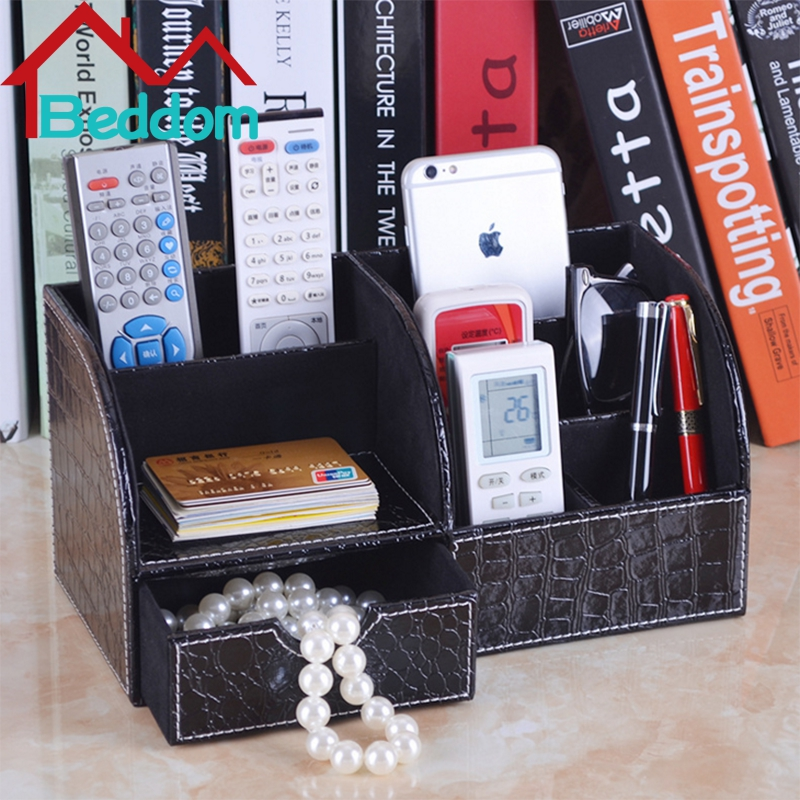 Beddom PU Leather TV Remote Controls Media Jewelry Phone Holder Organizer Single Layer Wooden With 3 Colors Desktop Storage Box(China (Mainland))