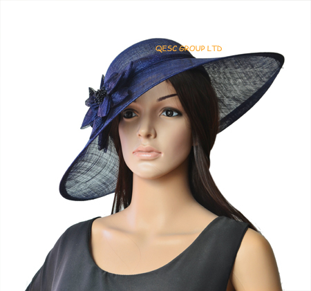 Navy blue Large Sinamay Hat Saucer fascinator Kentucky Derby Wedding. Length 45cm.(China (Mainland))