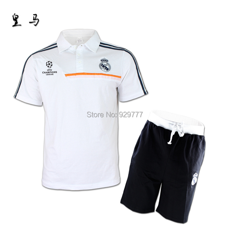 Champions League Best Thai Quality Real Madrid POLO Real Madrid 2015 soccer Jersey T-shirt,embroidery LOGO and short 100% cotton(China (Mainland))