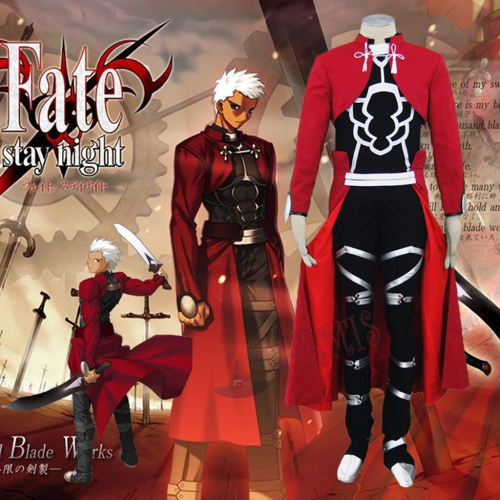 Athemis 2015 Best Seller Fate Stay Night Archer Cosplay Costume Red Coat Full Set with Kneecap Fighting Outfit Hot New ProductОдежда и ак�е��уары<br><br><br>Aliexpress