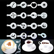 16Pcs set Fashion Cappuccino Coffee Barista Stencils Template Strew Pad Duster Spray Tools accessories 019
