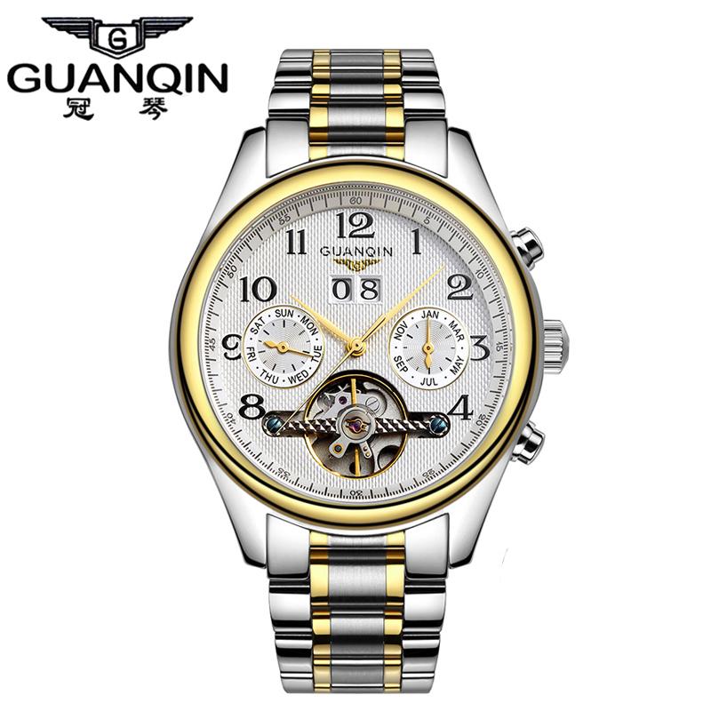 2016 Original GUANQIN Tourbillon Men Watches Top Brand Luxury Sapphire Waterproof Men Automatic Mechanical Wrist Watches(China (Mainland))