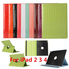 Tablet Cases for iPad 234 360 Rotation PU Leather Crocodile Case for iPad 234 Smart Cover ipad 234 Flip Case With Stand Function(China (Mainland))