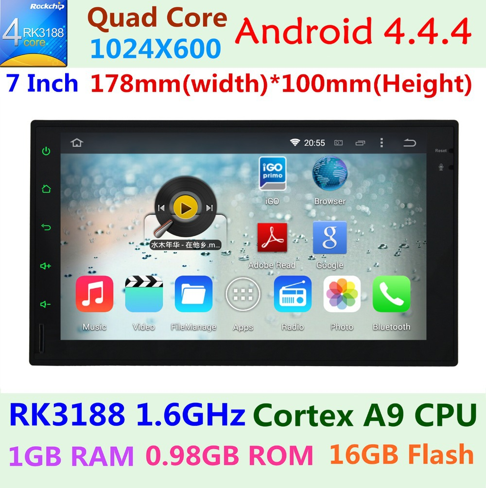 2Din 1024X600 Quad Core 1.6GHz DDR3 1GB RAM 16G Flash Android 4.4.4 Car DVD GPS Navigation Player Stereo Radio 2 Din Universal(China (Mainland))