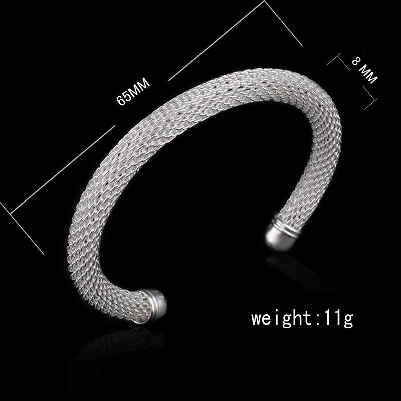 2015 Ripple Women Fashion 925 Sterling Silver Bracelets Bangles Mujer Pulseira De Prata Sterling Indian Jewelry Wholesale B040(China (Mainland))