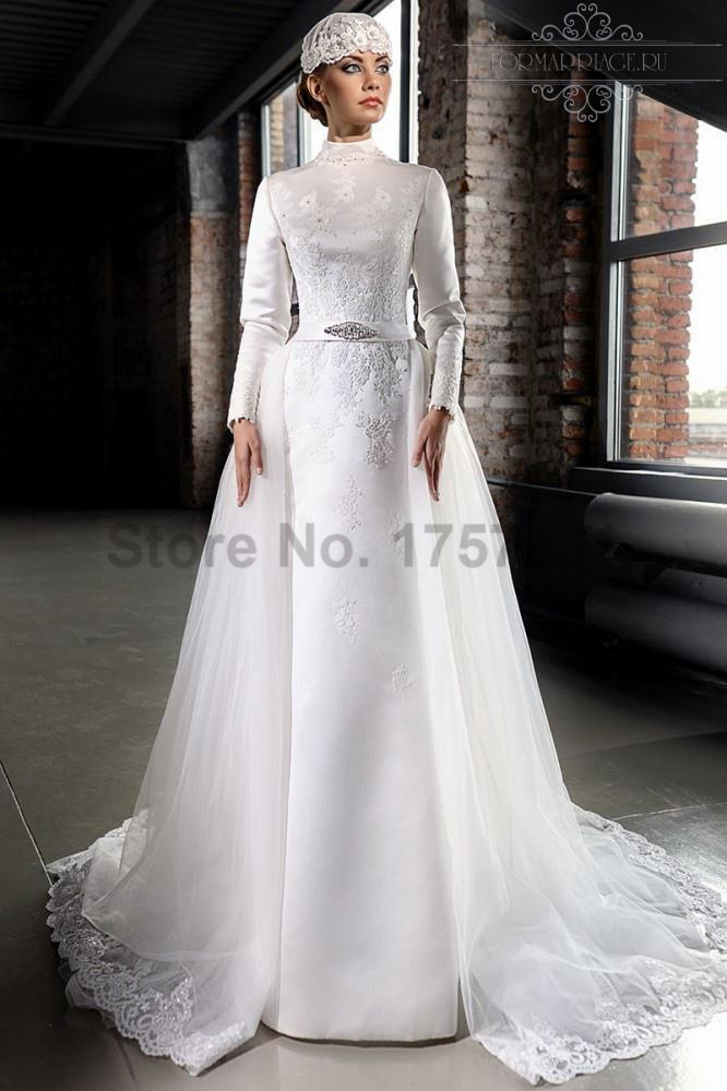 Modest A Line Long Sleeves Satin Lace Bridal Gowns Wedding Dress 2016 Court T
