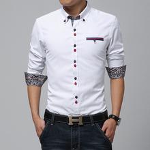 2014 New Fashion Brand Casual Men Shirt, Contrast Color Double Closing Slim Fit Men Shirt Long sleeve, High Quality Shirt Men
