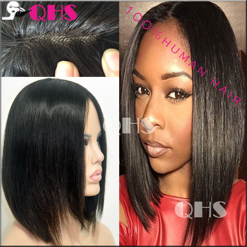Fashion Style Unprocessed Virgin Brazilian hair Short Human Bob Wigs Hand tied top wig full Lace Front Bob Wig Factory Promotion(China (Mainland))