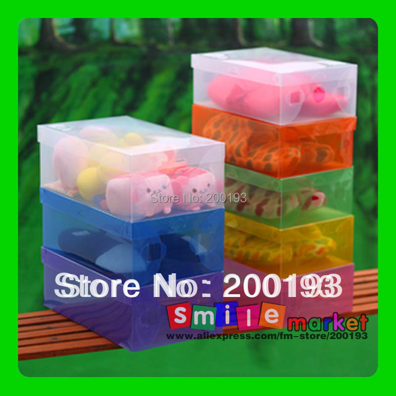 Free shipping 25pieces/lot CLEAR plasic FOLDABLE storage box for SHOES
