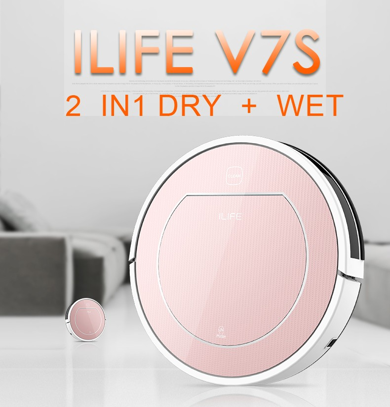 DHL freeshipping ILIFE V7S Robotic Vacuum Cleaner with Dry and Wet Mop function,Buletooth control,Sensor,household cleaning(China (Mainland))
