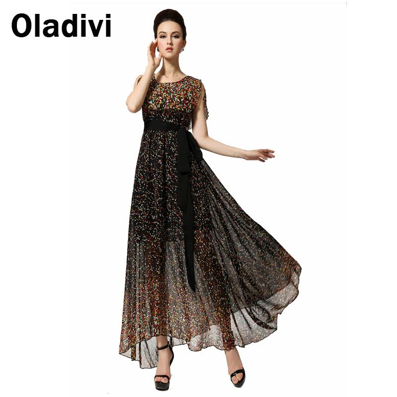 Bohemian Flower Long Maxi Ankle Length Sleeveless Sundress Senior Chiffon Full Dresses Robe Longue Summer Plus Size XXL 2016 New - Oladivi official store