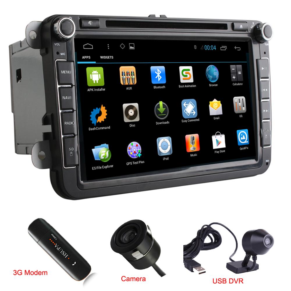 "1024*600 Quad Core 2Din Android 4.4 DVD Player 8"" Navigation Radio For VW Sagitar Lavida Skoda Superb Seat Leon 3G DVR Camera(China (Mainland))"
