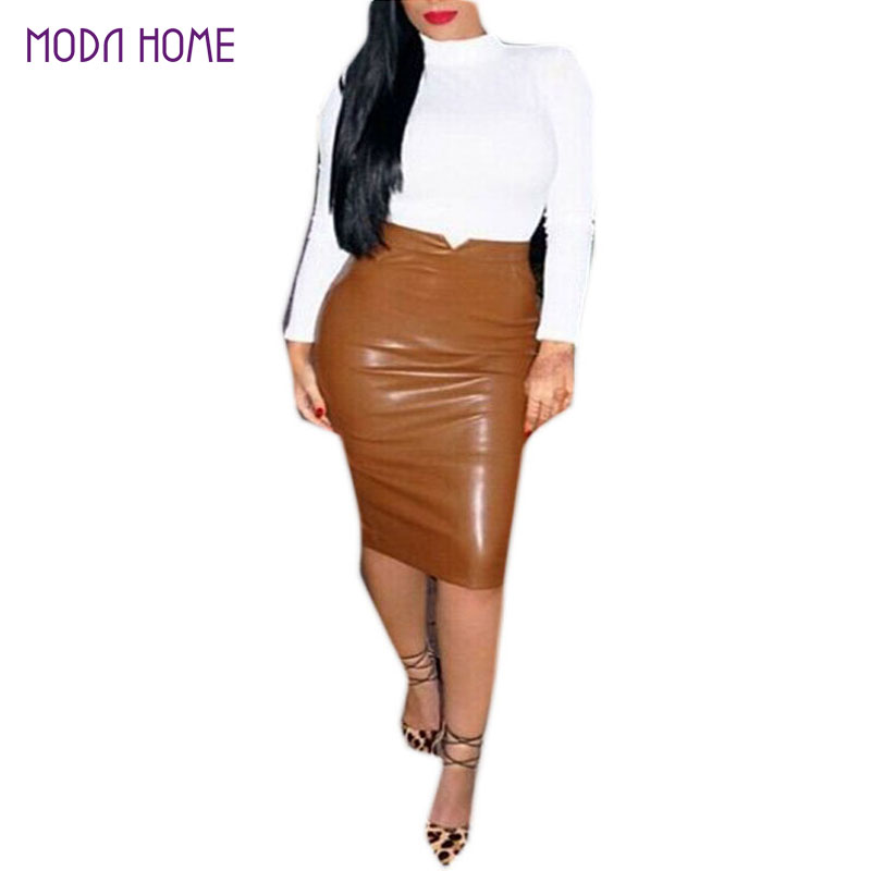 XXL Hot Sale Women Soft PU Leather Skirt High Waist Slim Hip Pencil Skirts Vintage Bodycon OL Midi Skirt Sexy Clubwear Plus Size