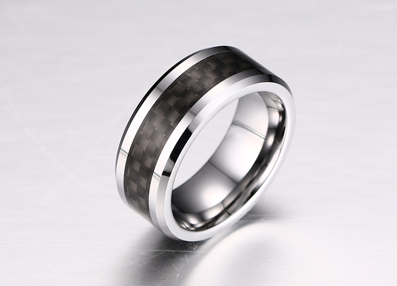 Vnox 100% Tungsten Carbide Ring For Men Black Carbon Fiber Mens Ring Jewelry