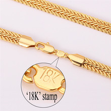 Gold Necklace With 18K Stamp New Trendy 18K Real Gold Plated 6MM 18 22 26 Inches
