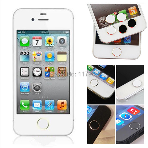 1 Pcs White&Silver Color Home Button protective Stickers for Apple iPhone 5S 5C 4 4S EC300