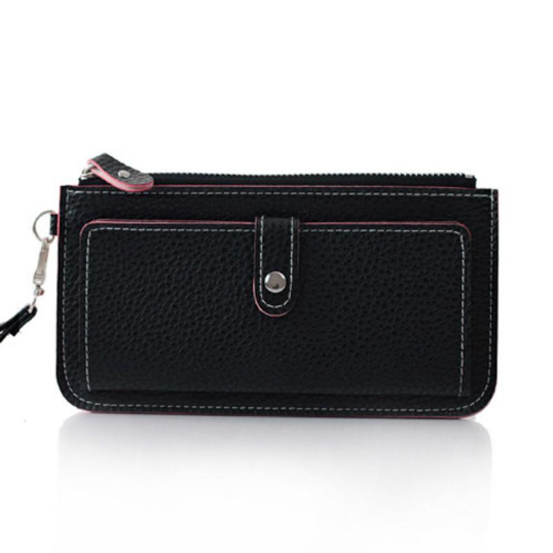 2015 Hot Fashion Women Wallets bag solid PU Leather Long Wallet clutch Change Purse brand black Lady Cash phone card Purse<br><br>Aliexpress