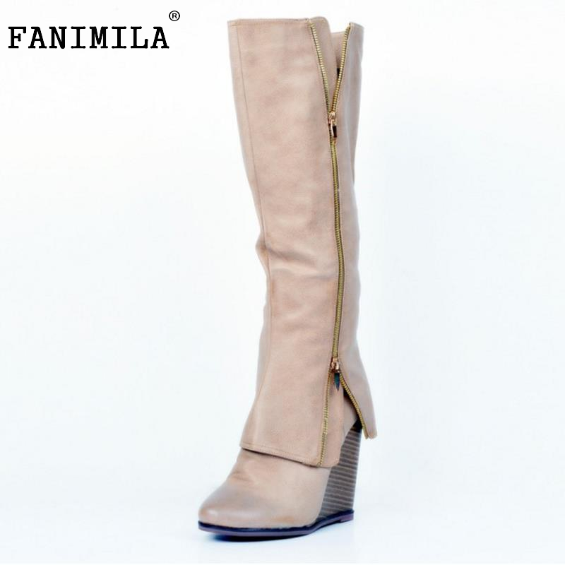 Size 34-47 Women Shoes Autumn Winter Ladies Fashion Wedge High Heel Boots Knee Thigh High Suede Long Boot Brand Designer