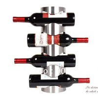Hot sell 4 bottles wall mounted stainless steel red wine holders rack-1pcs/lot