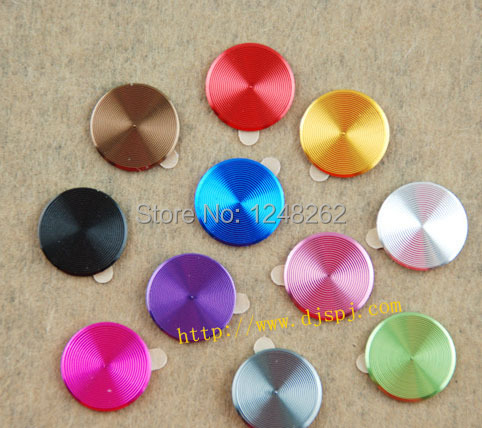 New Fashion Metal Aluminium Round Mobile Phone Home Button Sticker for iPhone 4S 4 5 5S 5 3G 3GS iPod iPad 2 3 Free Shipping(China (Mainland))