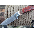 Sharp Fixed blade Hunting Knife Handmade forged Damascus Steel camping knifeblade 58HRC leather handle survival Tactical
