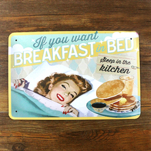 sexy lady food housewife Metal Tin signs vintage painting house bar coffee home decoration metal wall art 20*30 CM(China (Mainland))