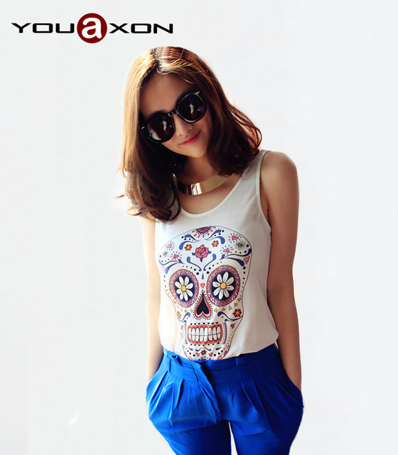 1212 YouAxon Factory Price Drop Shipping Hot Sale Summer Cute Cool Skeleton Cami Tank Skull Printed Tops For Women a+ t shirts