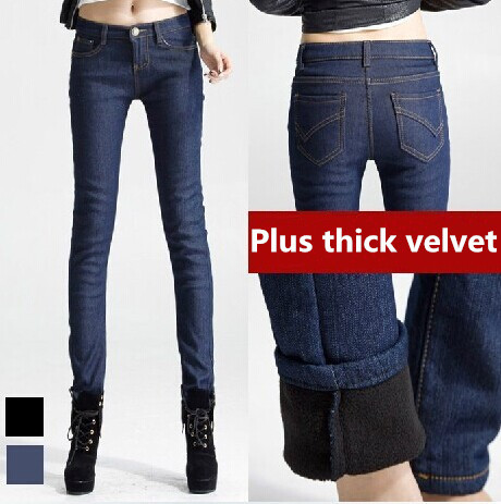 thick winter fleece jeans women slim fit skinny denim pencil pants Large yard trousers warm - Online Store 923589 store