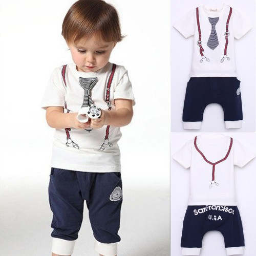 New Kids Baby Boy Cotton Tie Belt Print Top T Shirt+Short Pants Tops 1-5Y White Free shipping(China (Mainland))