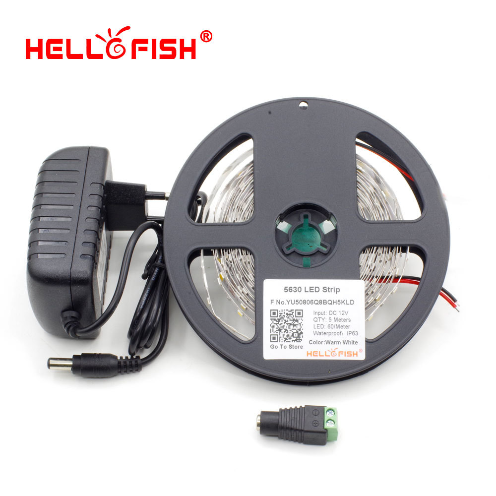 Гаджет  Hello Fish 5M 5630 300 SMD Flexible LED Strip Light + Female DC Connector +12V 2A 24W Power Adapter Kit  White/ Warm White None Свет и освещение
