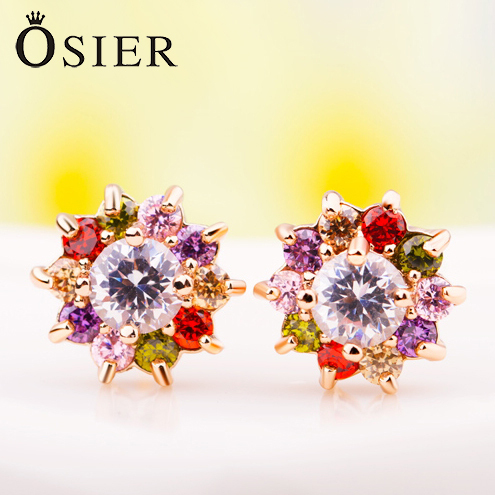 Fancy AAA CZ Diamonds 18K Gold Plated Colored Flower Earrings Gift For Girlfriend Women Feme High Quality Wholesale(China (Mainland))
