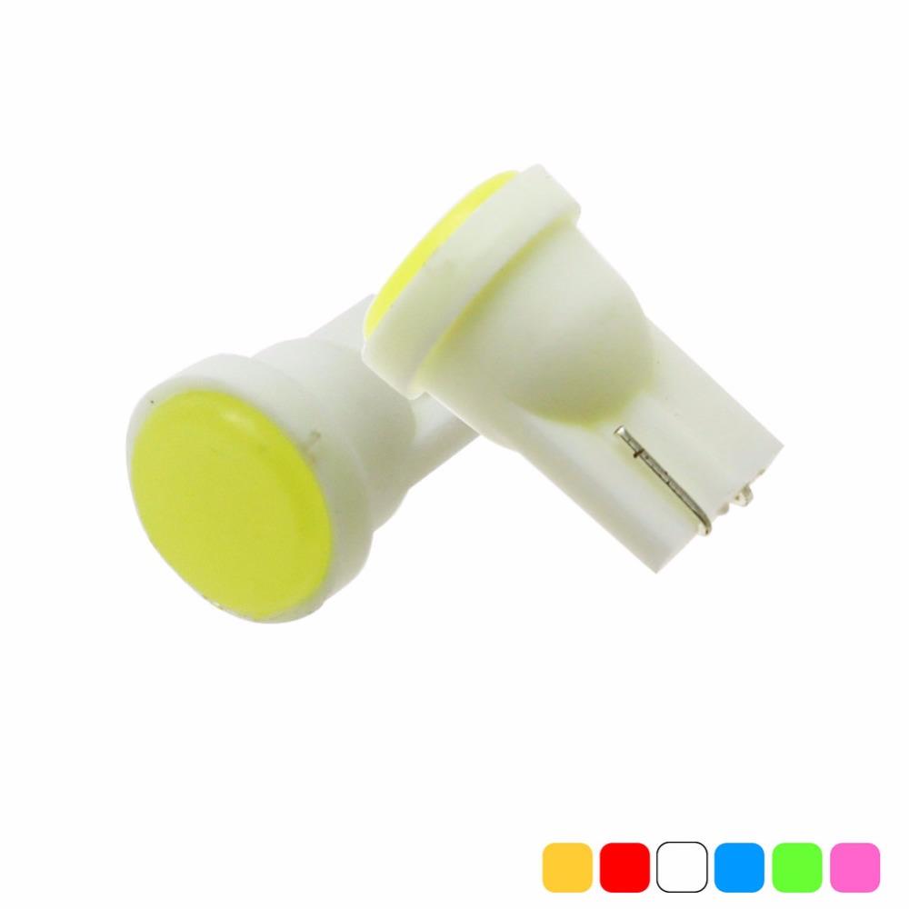 10pcs Ceramic Car Interior LED T10 COB W5W Wedge Door Instrument Side Bulb Lamp Car Light Blue/Green/red/Yellow/Pink Source 12V(China (Mainland))
