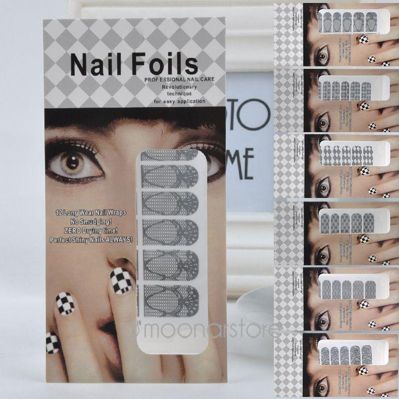 Nail Stickers New Black Flower Design Nail Decals For Women Nail Tips Decoration Tool B*HJ0096#A4(China (Mainland))