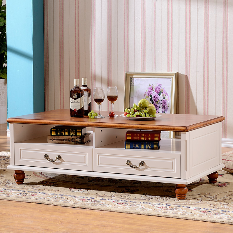 Korean Coffee Table Wood Living American Country With Few Side Pumping Round Teasideend In