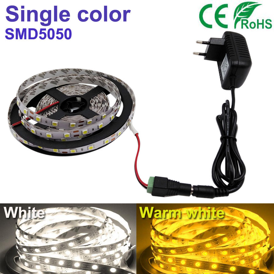 5M 300 led strip White/Warm white LED Strip light String Ribbon 5050SMD Tape More Bright +2A power For indoor home Decorative(China (Mainland))