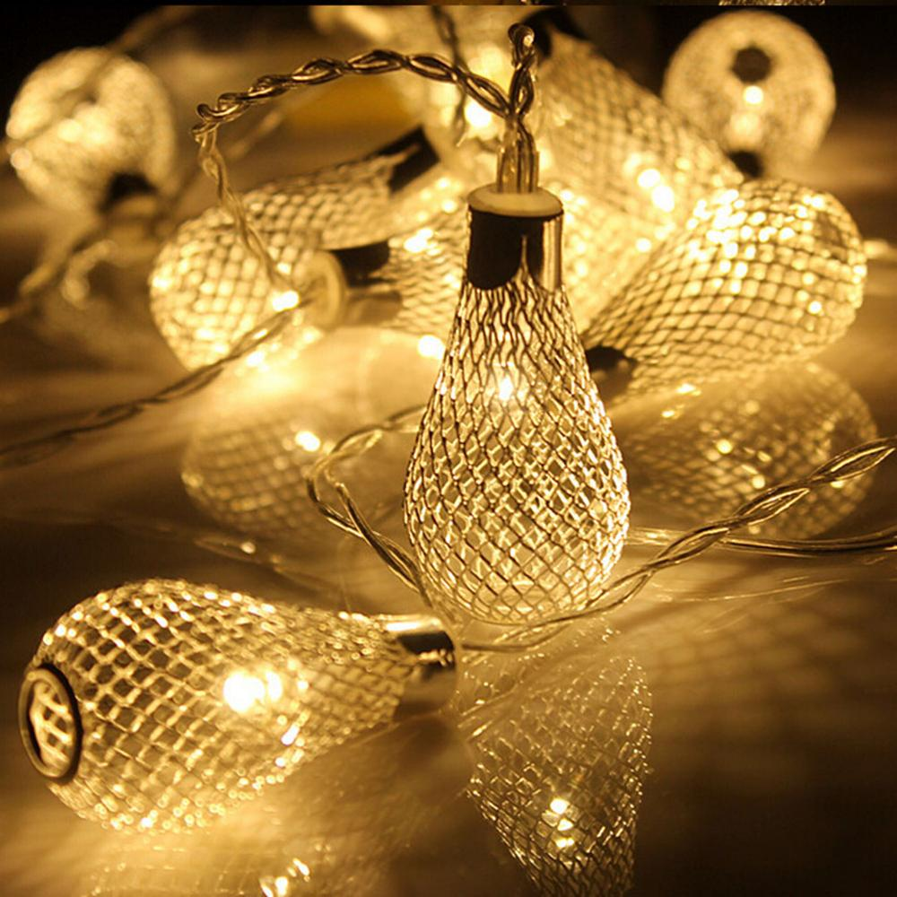 20LEDs String Colored Lights in Iron Hollow with Water Drop Shaped 3 AA Battery Powered 2.5M Seasonal Decor Rope Lights(China (Mainland))