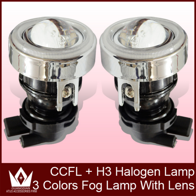 Free Shipment !! HID Xenon Bulb H3 Conversion Kit Projector Lens Fog Lamp/Lights Lens with CCFL Halo Ring<br><br>Aliexpress