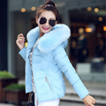 2016 Winter New Fashion Women Short Small Cotton Jacket Hooded Warm Big Hair Collar Big Size