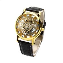 Caliente! nuevos hombres de la venta de reloj de cuero Skeleton hombres del reloj del deporte ahueca hacia fuera el reloj relogio masculino envío gratis