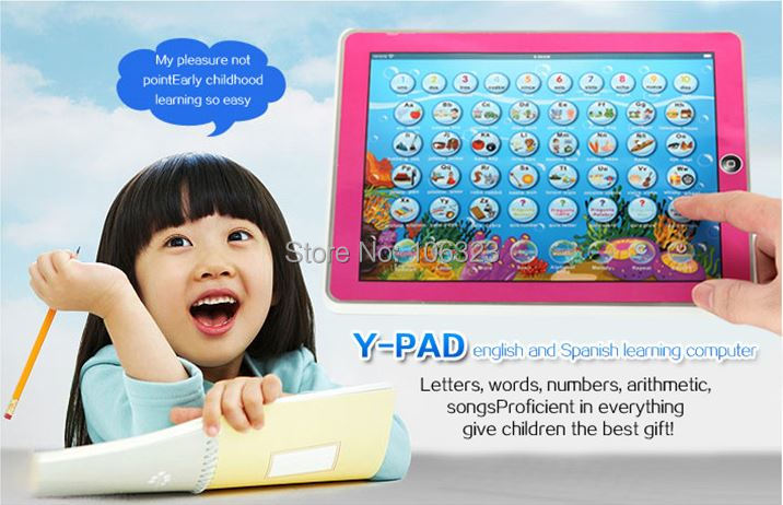 Free ship, New arrial, Y Pad English + Spanish Language Learning Machine, Kid Touch Tablet Computer, Baby Funny Educational toys(China (Mainland))