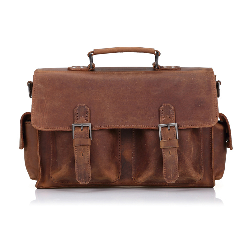 High Class Genuine Leather Men Messenger Bags Crazy Horse Leather